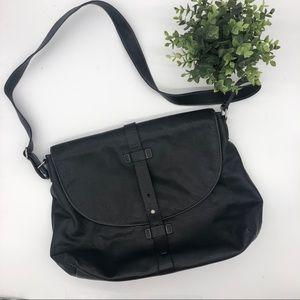 Kenneth Cole Black Leather Laptop / Messenger Bag